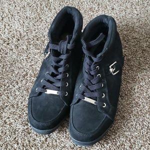 Black High-Top Wedge Sneakers